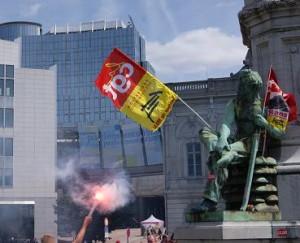 Vor dem Europaparlament in Brüssel